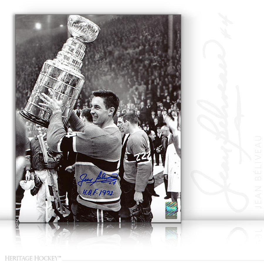 JEAN BELIVEAU AUTOGRAPHED SIGNED BLACK & WHITE STANLEY CUP 8X10 PHOTO - MONTREAL CANADIENS