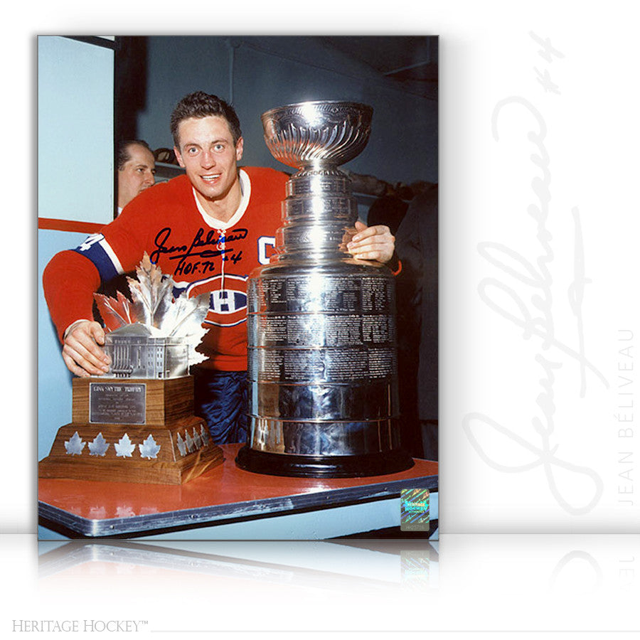 JEAN BELIVEAU AUTOGRAPHED SIGNED STANLEY CUP & CONN SMYTHE 8X10 PHOTO - MONTREAL CANADIENS