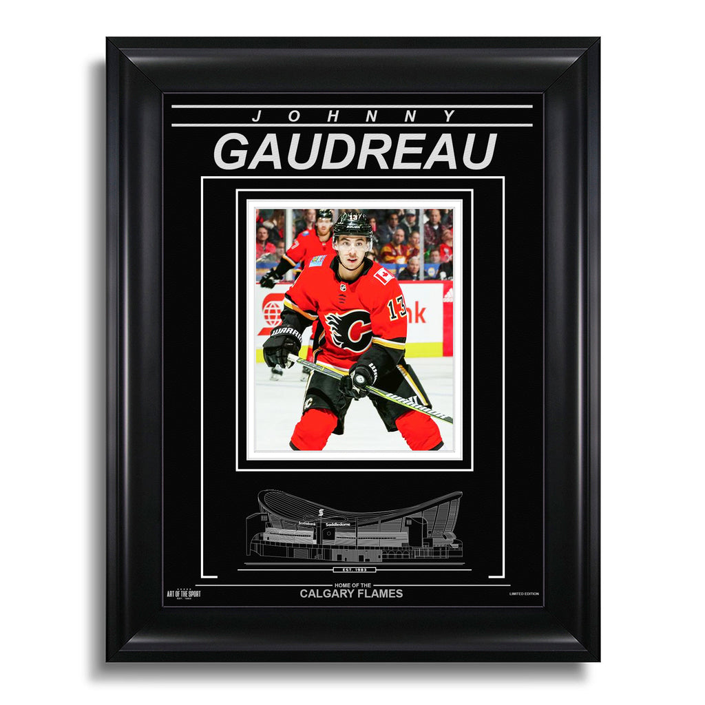 Johnny Gaudreau Calgary Flames Engraved Framed Photo - Closeup
