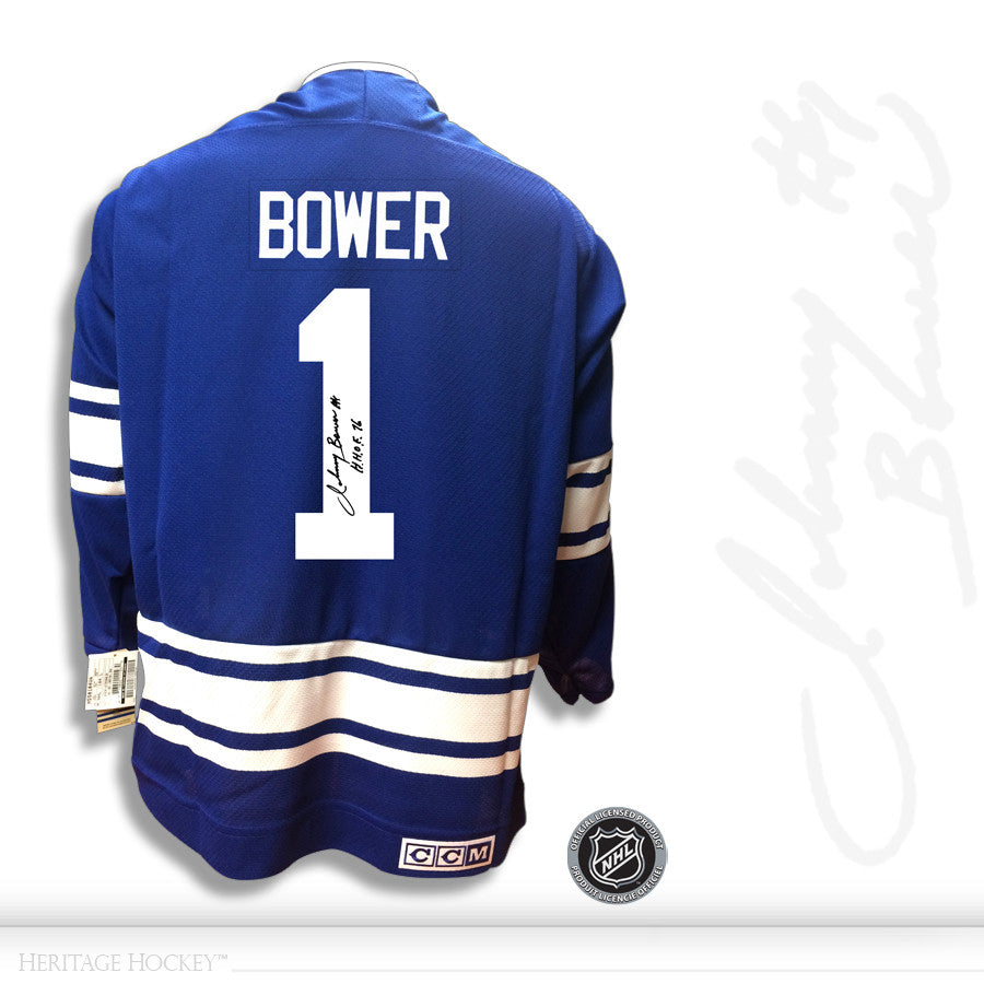 JOHNNY BOWER AUTOGRAPHED SIGNED TORONTO MAPLE LEAFS CCM VINTAGE 1967 JERSEY