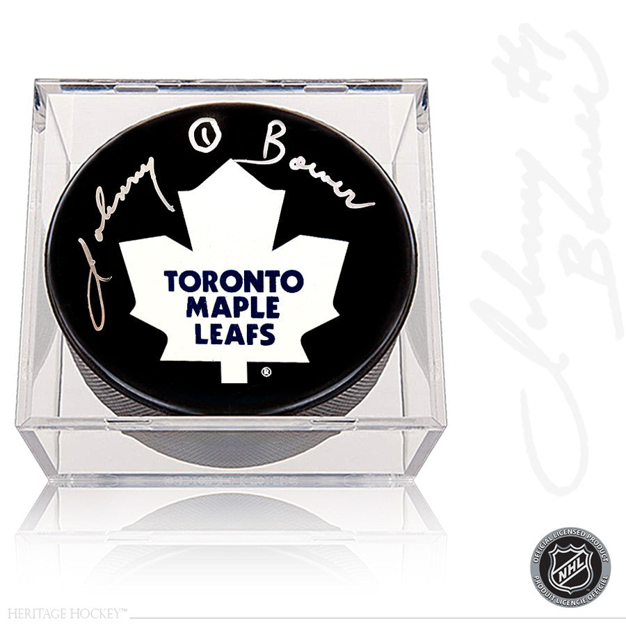 JOHNNY BOWER AUTOGRAPHED SIGNED TORONTO MAPLE LEAFS PUCK