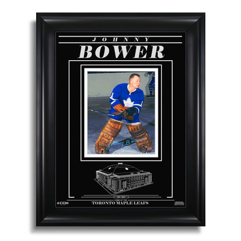 Johnny Bower Toronto Maple Leafs Engraved Framed Signed Photo - Action Colour