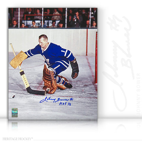 JOHNNY BOWER AUTOGRAPHED SIGNED STICK SAVE 11X14 PHOTO - TORONTO MAPLE LEAFS