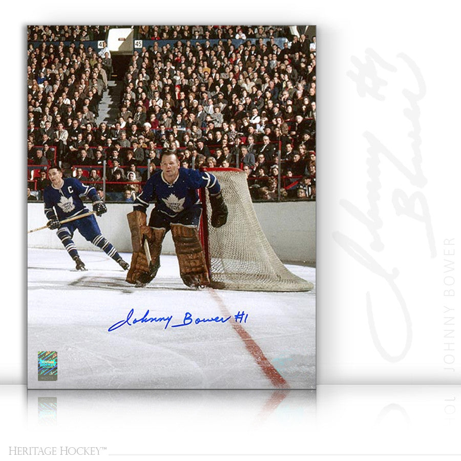 JOHNNY BOWER AUTOGRAPHED SIGNED MAPLE LEAF GARDENS 16X20 PHOTO - TORONTO MAPLE LEAFS