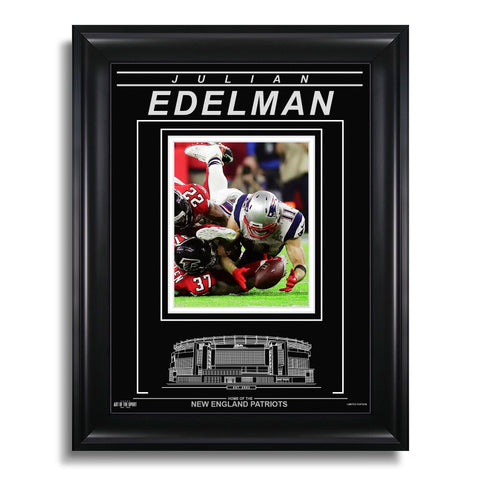 Julian Edelman New England Patriots Engraved Framed Photo - Action Super Bowl LI Catch