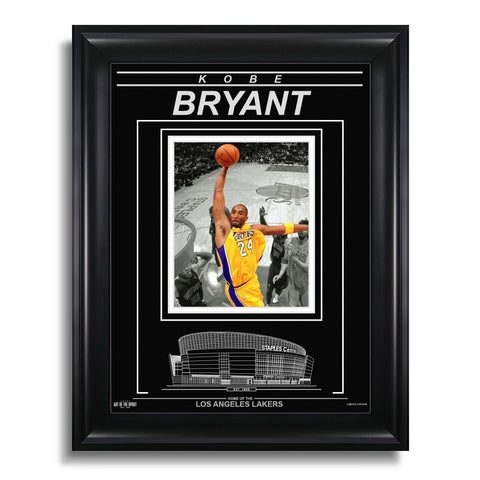 Kobe Bryant Los Angeles Lakers Engraved Framed Photo - Action Spotlight Dunk