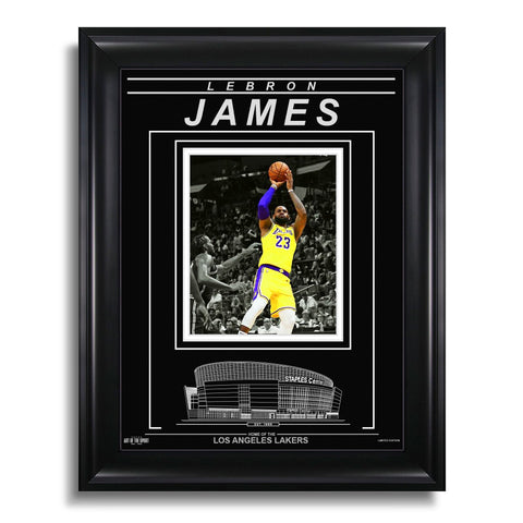 LeBron James Los Angeles Lakers Engraved Framed Photo - Action Spotlight