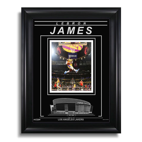 LeBron James Los Angeles Lakers Engraved Framed Photo - Windmill Dunk