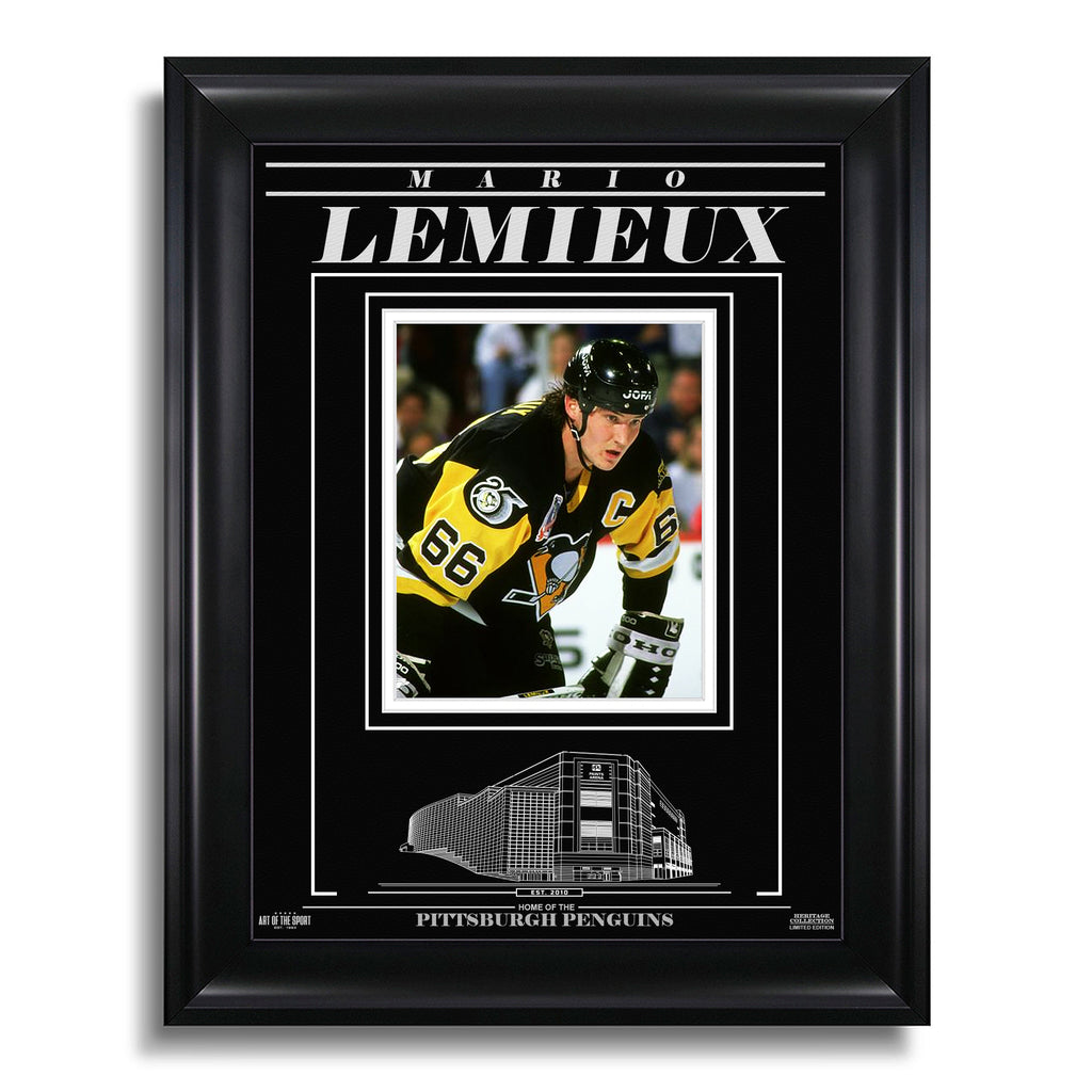 Mario Lemieux Pittsburgh Penguins Engraved Framed Photo - Closeup