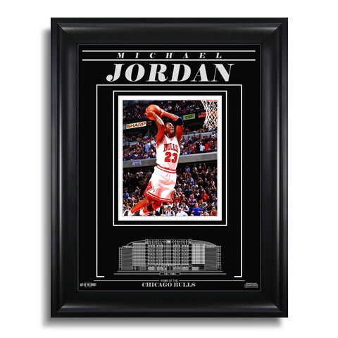 Michael Jordan Chicago Bulls Engraved Framed Photo - Action Dunk