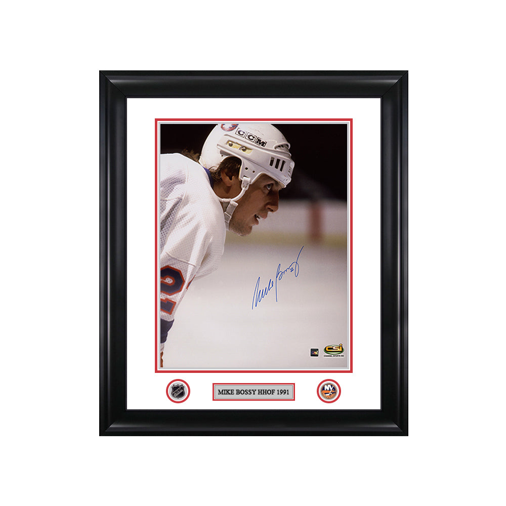 Mike Bossy Signed New York Islanders Colour Portrait Framed Photo