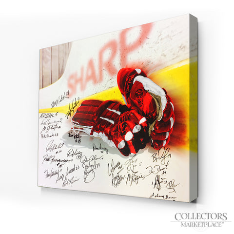 Multi-Signed Limited Edition Vintage Hockey Gloves Canvas Print - 25 Signatures