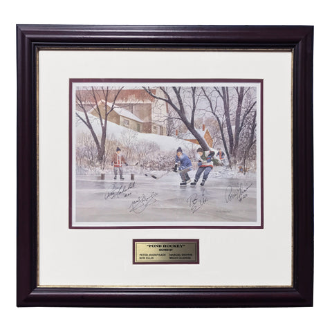 Pond Hockey – Peter Mahovlich, Marcel Dionne, Ron Ellis & Brian Glennie Signed Print