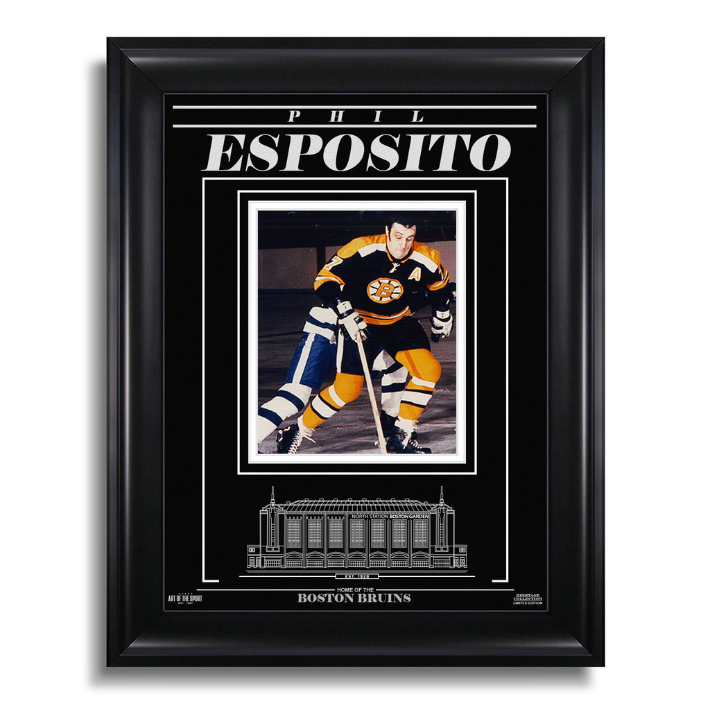 Phil Esposito Boston Bruins Engraved Framed Photo - Action Battle
