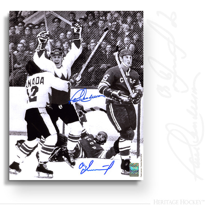 PAUL HENDERSON & VLADISLAV TRETIAK DUAL AUTOGRAPHED SIGNED GAME 8 WINNING GOAL 8X10 PHOTO - TEAM CANADA 1972