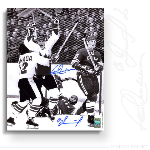 PAUL HENDERSON & VLAD TRETIAK DUAL AUTOGRAPHED SIGNED GAME 8 WINNING GOAL 11X14 PHOTO - TEAM CANADA 1972