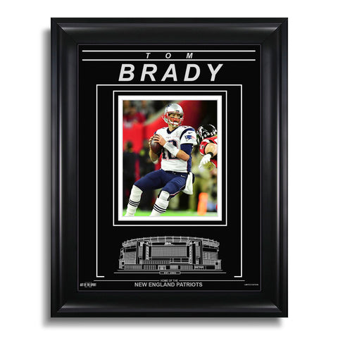 Tom Brady New England Patriots Engraved Framed Photo - Action Super Bowl LI Throw