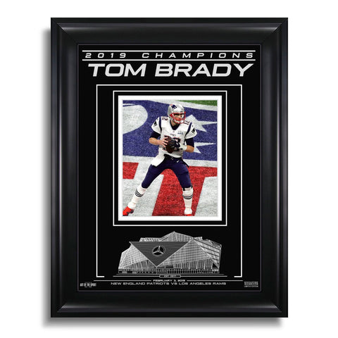 Tom Brady New England Patriots Super Bowl LIII Champions Engraved Framed Photo