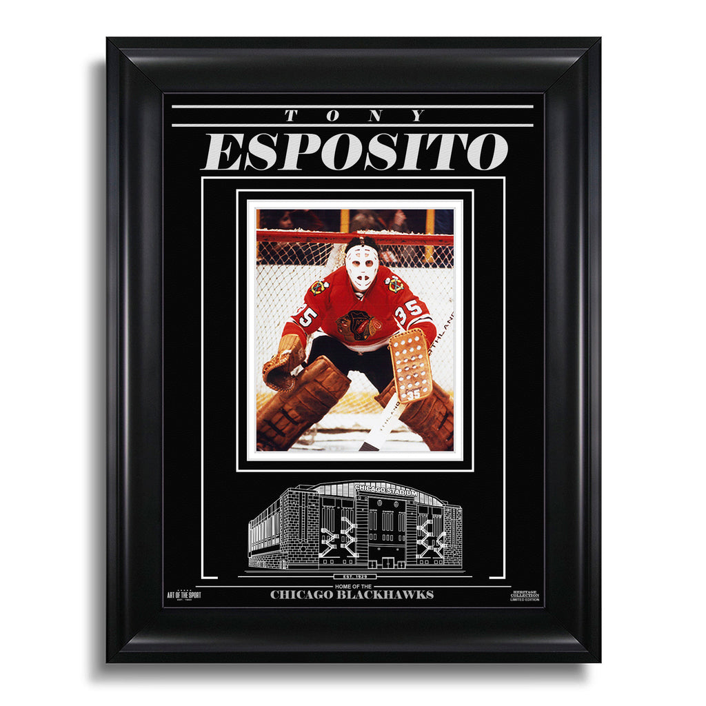Tony Esposito Chicago Blackhawks Engraved Framed Photo - Focus