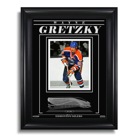 Wayne Gretzky Edmonton Oilers Engraved Framed Photo - Action
