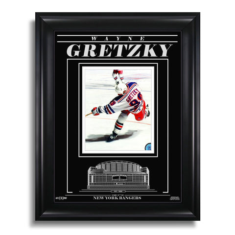 Wayne Gretzky New York Rangers Engraved Framed Photo - Action