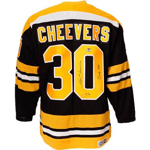 Gerry Cheevers Signed Boston Bruins Vintage Jersey