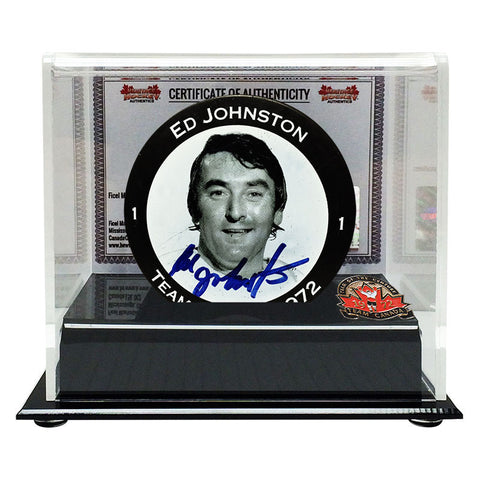 Ed Johnston Signed Team Canada 1972 Face Puck
