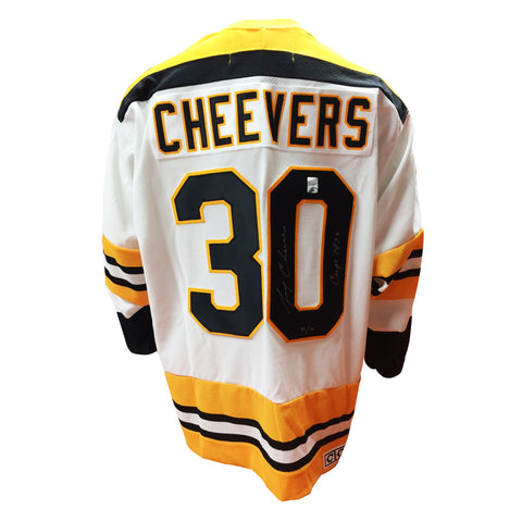 Gerry Cheevers Signed Boston Bruins Vintage Away Jersey