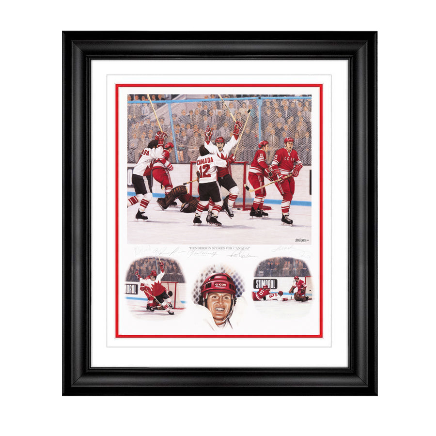 Henderson Scores For Canada Artist Proof Framed Lithograph Autographed by 5 Players