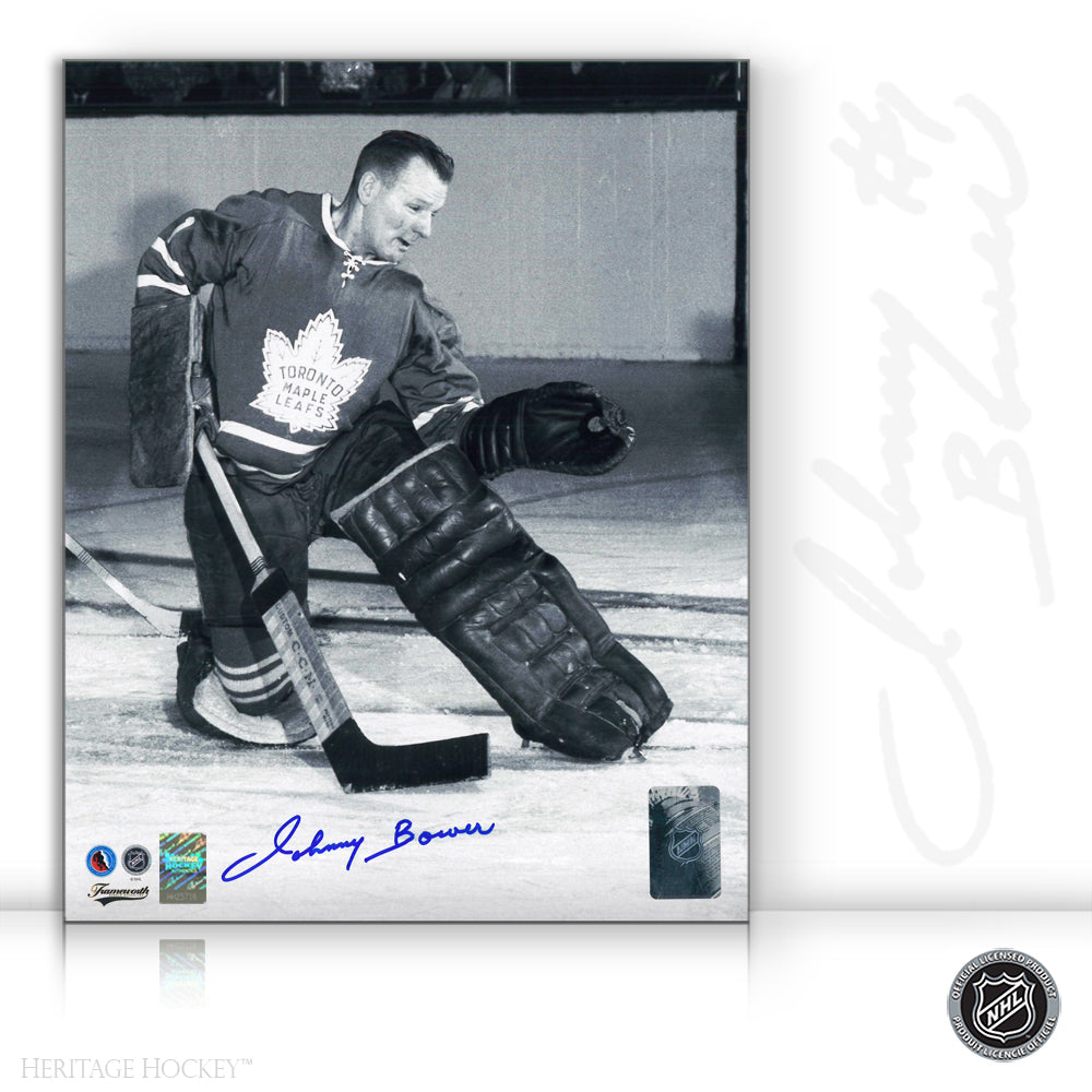 JOHNNY BOWER AUTOGRAPHED SIGNED TORONTO MAPLE LEAFS 8X10 PHOTO - ACTION CATCH