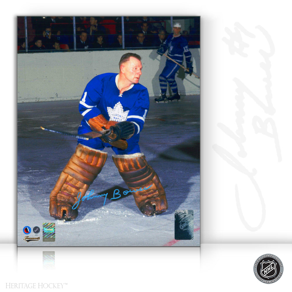 JOHNNY BOWER AUTOGRAPHED SIGNED TORONTO MAPLE LEAFS 8X10 PHOTO - ACTION COLOUR
