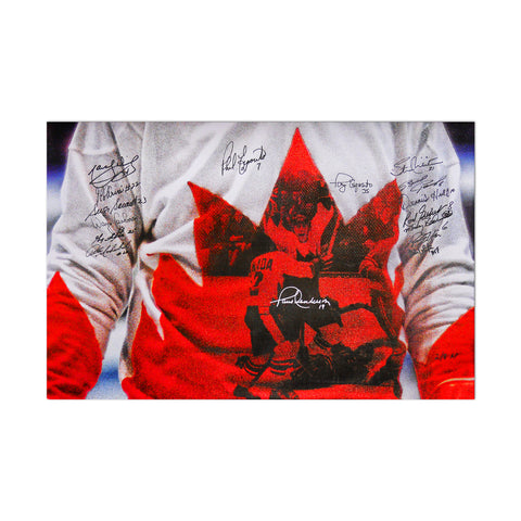 Team Canada 1972 Limited Edition (AP) 16x20 Canvas Print Signed by 16 Players