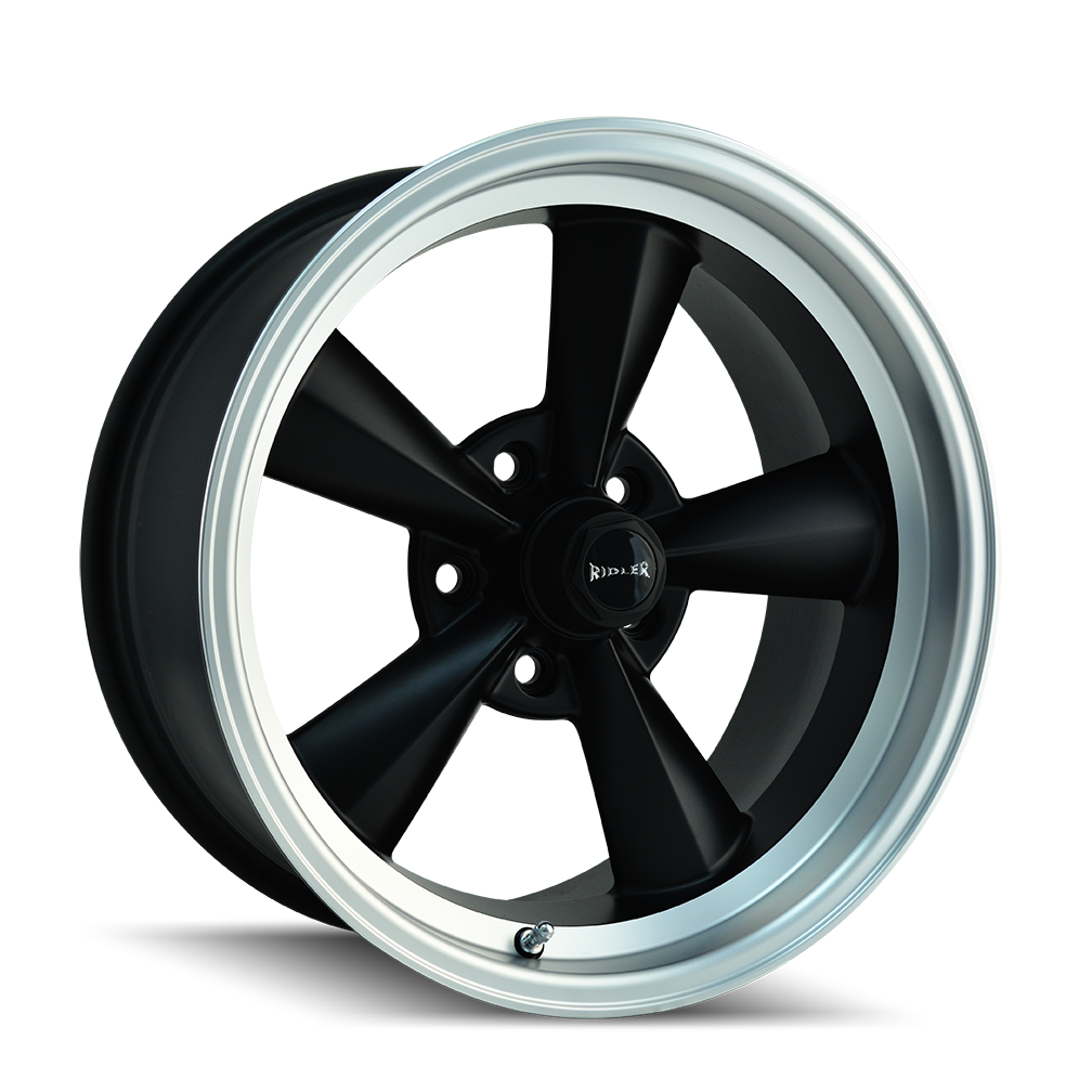 RIDLER 675 MATTE BLACK/MACHINED LIP - rons-rims-inc
