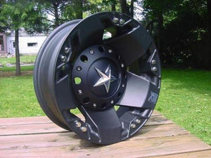 XD SERIES BY KMC WHEELS ROCKSTAR DUALLY MATTE BLACK REAR - rons-rims-inc