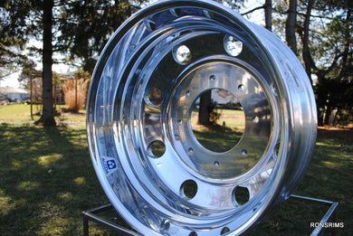19.5x6.75 ACCURIDE Medium Duty Hub Pilot Polished Truck Wheel - Rear 8 on 275mm - rons-rims-inc