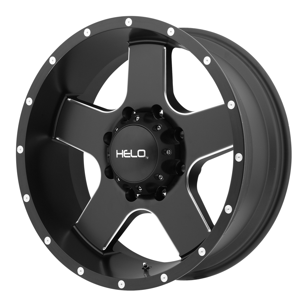 HELO HE886 SATIN BLACK W/ MILLED SPOKES & FLANGE - rons-rims-inc
