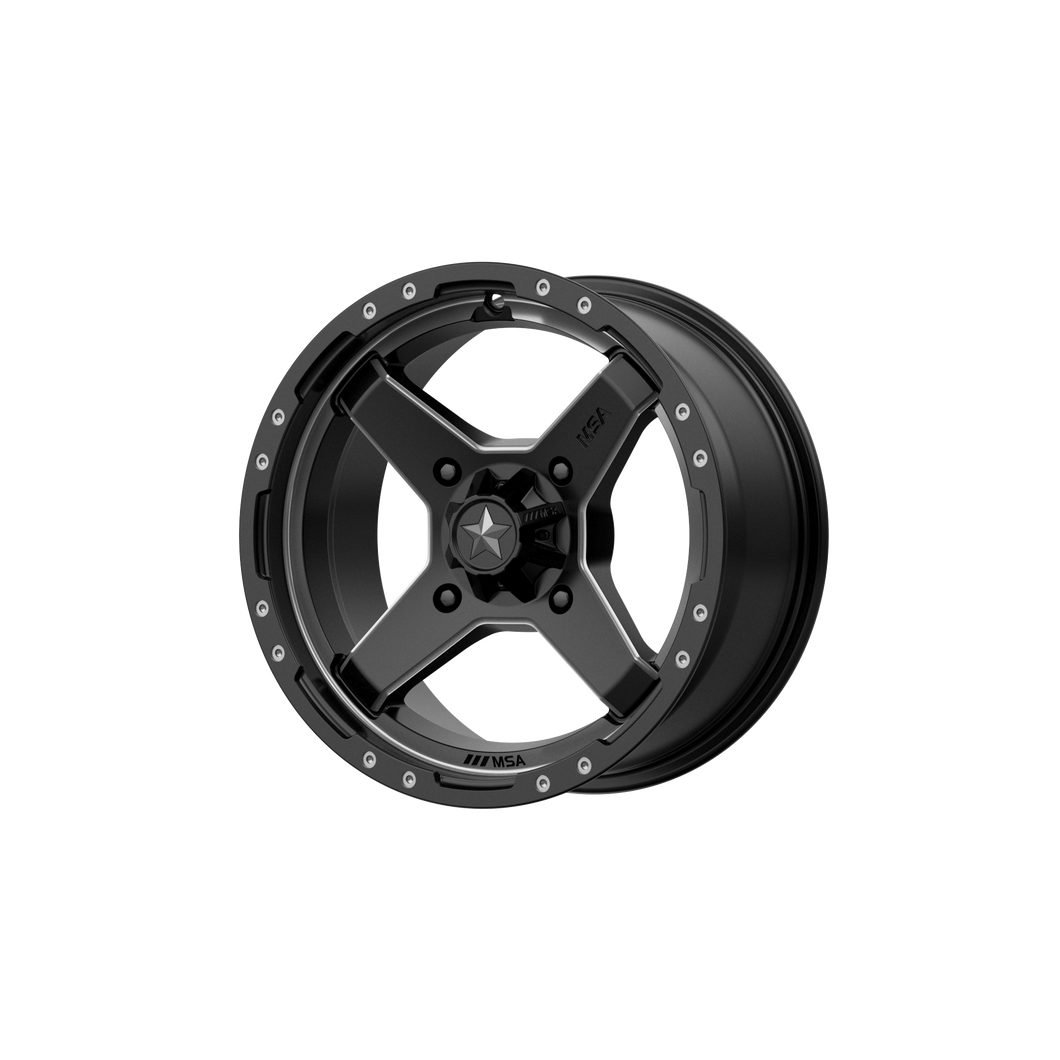 MSA OFFROAD WHEELS CROSS SATIN BLACK W/ TITANIUM TINT - rons-rims-inc