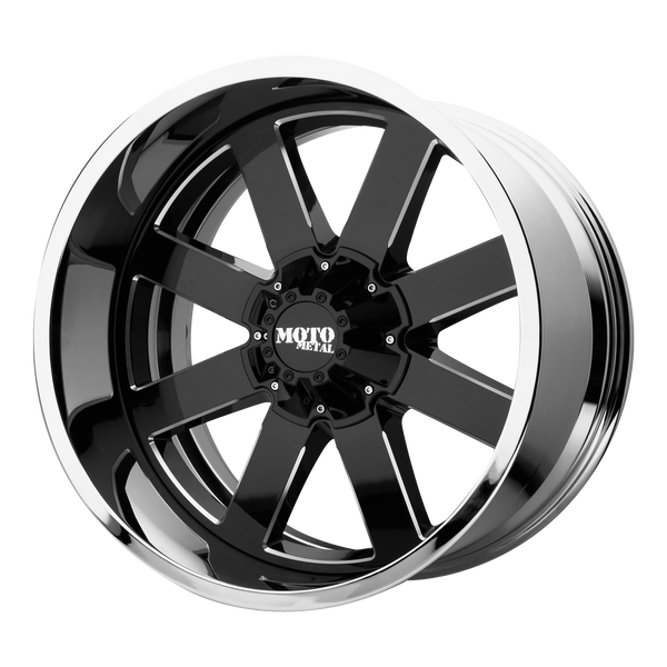 MOTO METAL MO200 GLOSS BLACK MILLED CENTER W/ CHROME LIP - rons-rims-inc