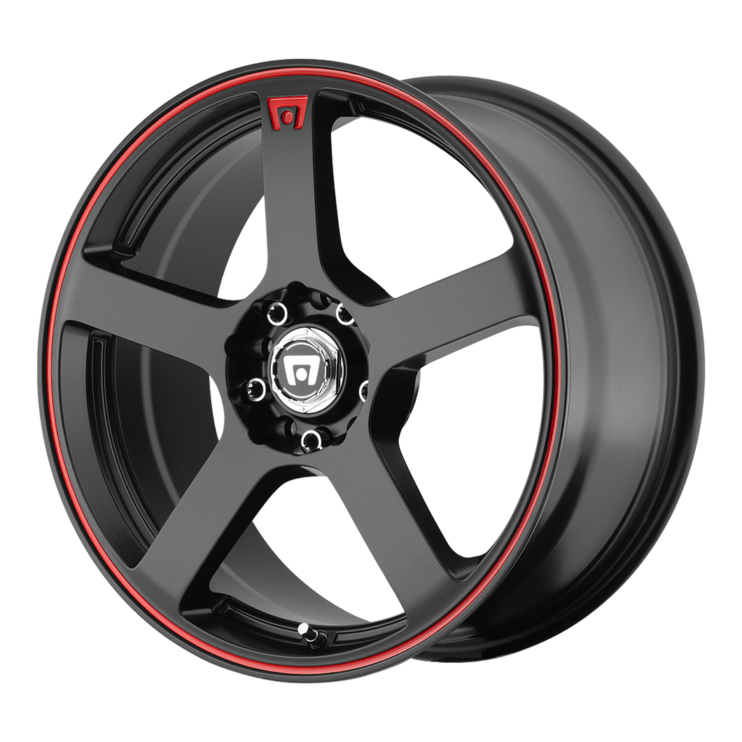 MOTEGI MR116 MATTE BLACK W/ RED STRIPE - rons-rims-inc