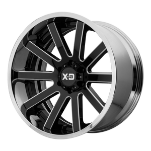 XD SERIES BY KMC WHEELS HEIST GLOSS BLACK MILLED CENTER W/ CHROME LIP - rons-rims-inc