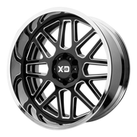 XD SERIES BY KMC WHEELS GRENADE GLOSS BLACK MILLED CENTER W/ CHROME LIP - rons-rims-inc