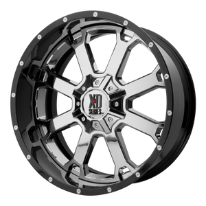 XD SERIES BY KMC WHEELS BUCK 25 CHROME CENTER W/ GLOSS BLACK MILLED LIP - rons-rims-inc