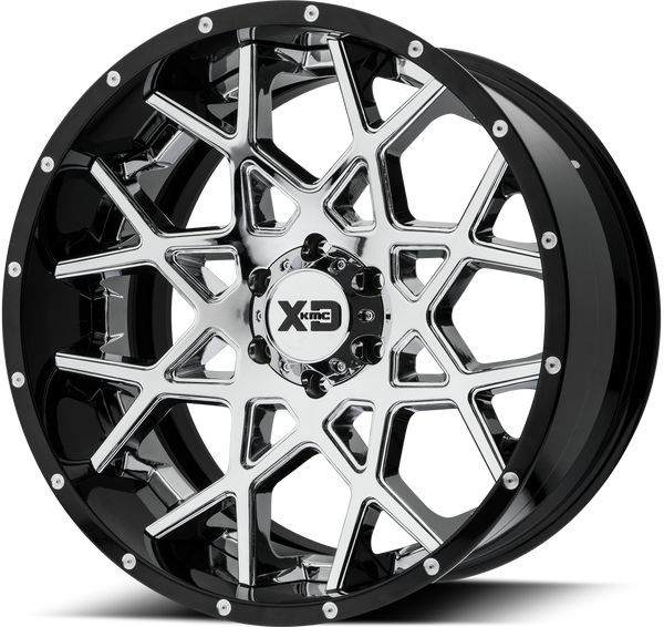 XD SERIES BY KMC WHEELS CHOPSTIX CHROME CENTER W/ GLOSS BLACK MILLED LIP - rons-rims-inc
