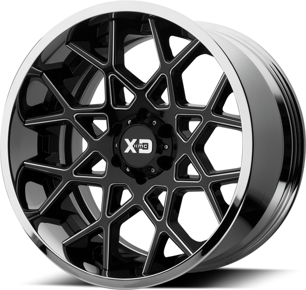 XD SERIES BY KMC WHEELS CHOPSTIX GLOSS BLACK MILLED CENTER W/ CHROME LIP - rons-rims-inc