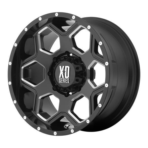 XD SERIES BY KMC WHEELS BATALLION GLOSS BLACK MILLED - rons-rims-inc