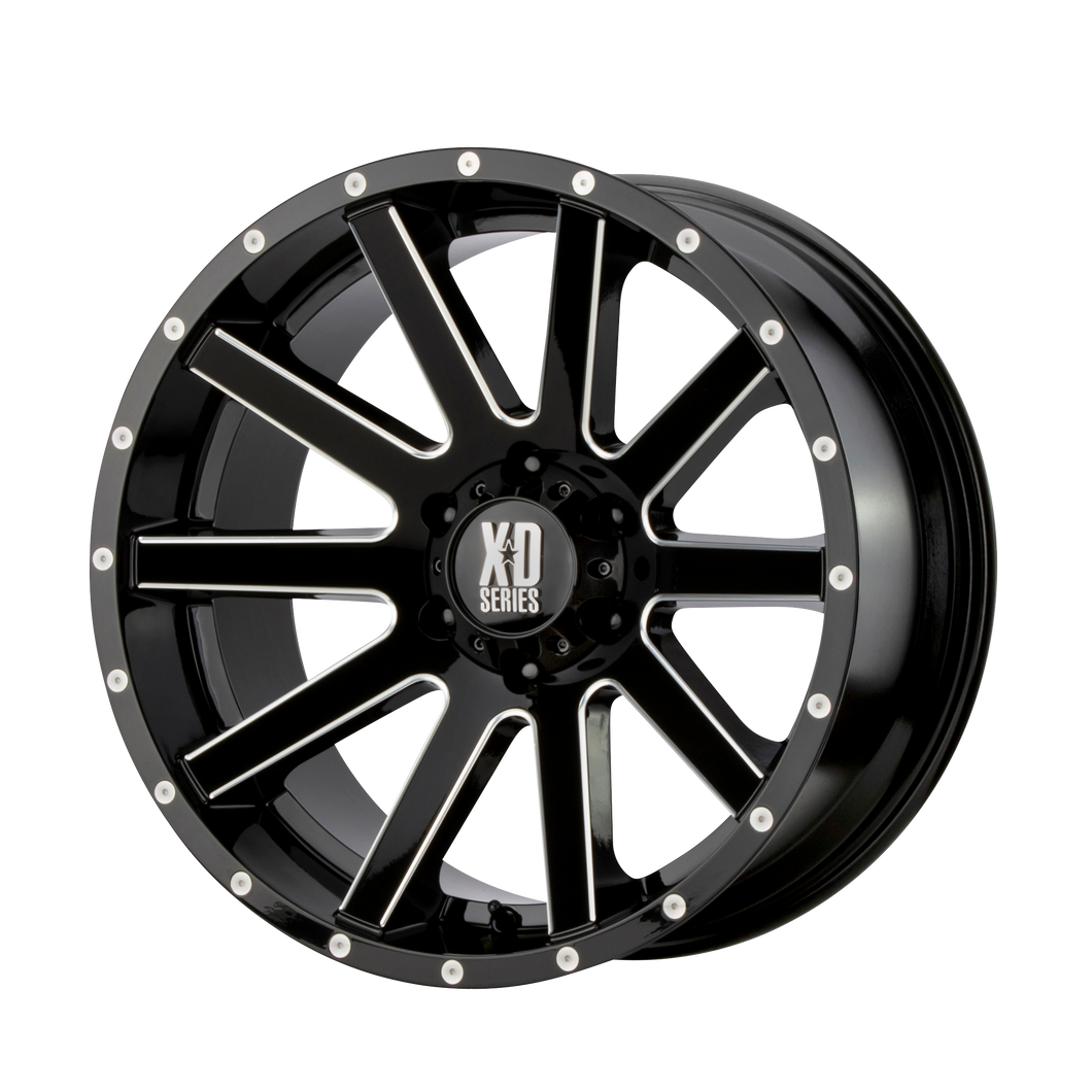 XD SERIES BY KMC WHEELS HEIST GLOSS BLACK MILLED - rons-rims-inc