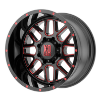XD SERIES BY KMC WHEELS GRENADE SATIN BLACK MILLED W/ RED TINTED CLEAR COAT - rons-rims-inc