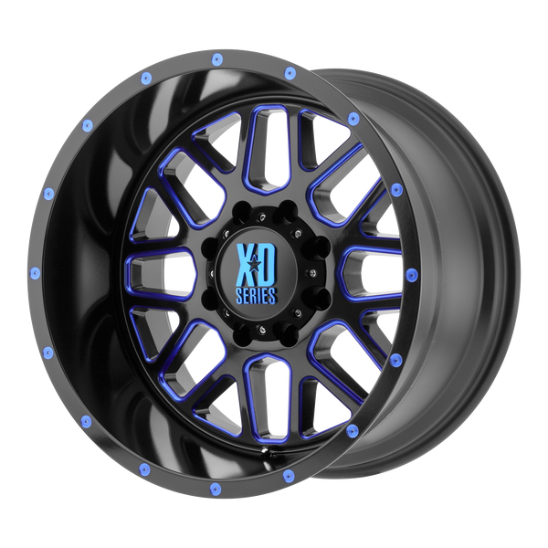 XD SERIES BY KMC WHEELS GRENADE SATIN BLACK MILLED W/ BLUE TINTED CLEAR COAT - rons-rims-inc