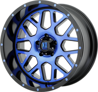 XD SERIES BY KMC WHEELS GRENADE SATIN BLACK MACH FACE W/ BLUE TINTED CLEAR COAT - rons-rims-inc