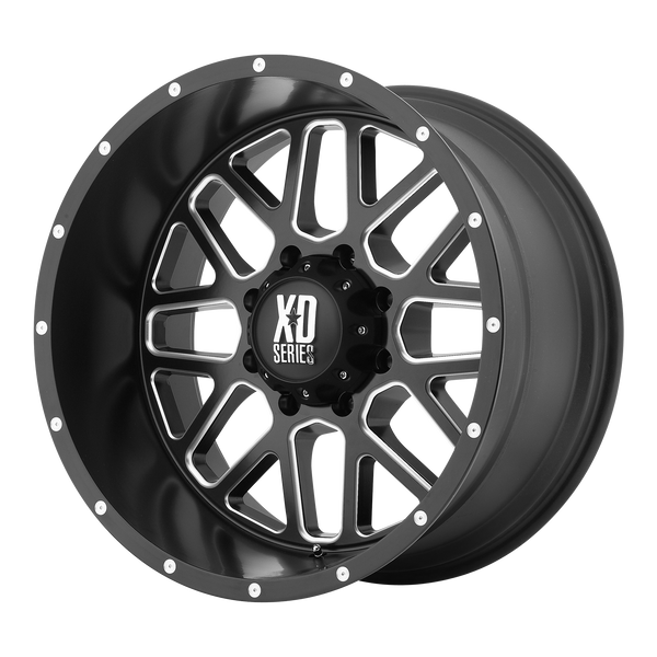 XD SERIES BY KMC WHEELS GRENADE SATIN BLACK MILLED - rons-rims-inc